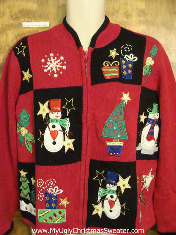 Red and Black Blocks Ugliest Bad Christmas Sweaters