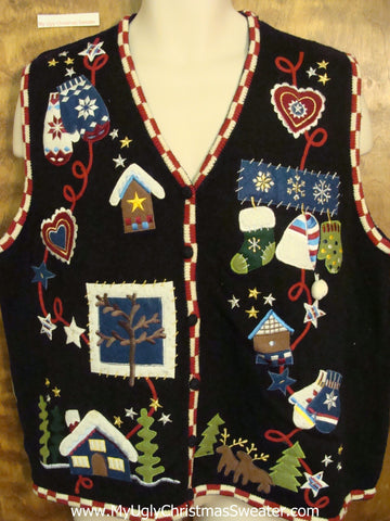Crazy Crafty Ugliest Bad Christmas Sweaters Vest