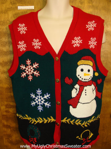 Huge Snowman Ugliest Bad Christmas Sweaters Vest