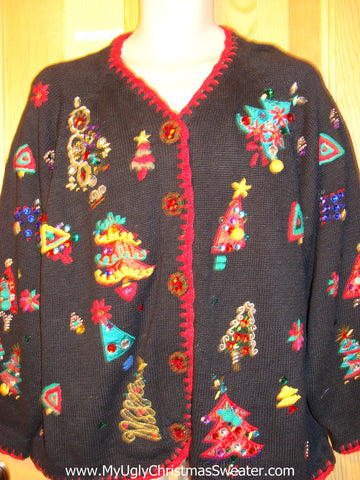 Tacky Ugly Christmas Sweater with Bling Festive Trees on Front and Sleeves (f306)