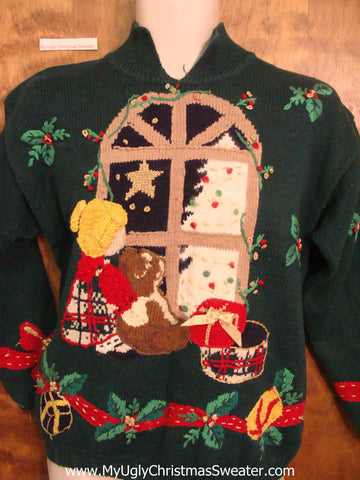 Green Cozy Scene Ugliest Bad Christmas Sweaters Pullover