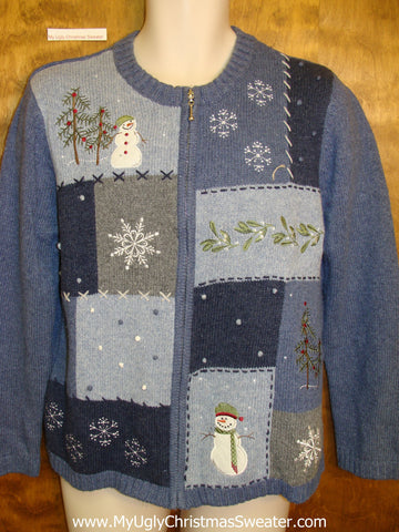 Blue Checkerboard Ugliest Bad Christmas Sweaters