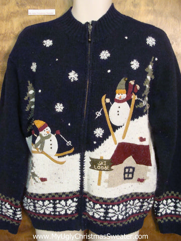 Skiing Snowmen Funny Ugly Christmas Sweaters