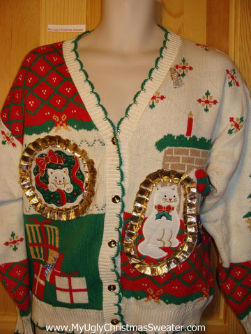 Tacky Ugly Christmas Sweater 80s Cardigan with Cats and 3D Bling Gold Trimming (f307)