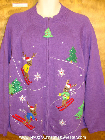 Purple Skiing Bears Ugliest Bad Christmas Sweaters