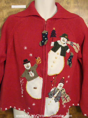 Peaking Snowmen Ugliest Bad Christmas Sweaters