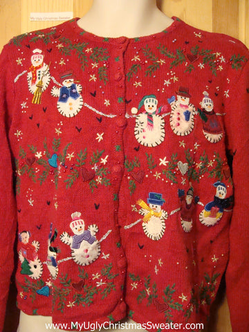 Tacky Ugly Christmas Sweater  with Loads of Ivy and Snowmen (f308)