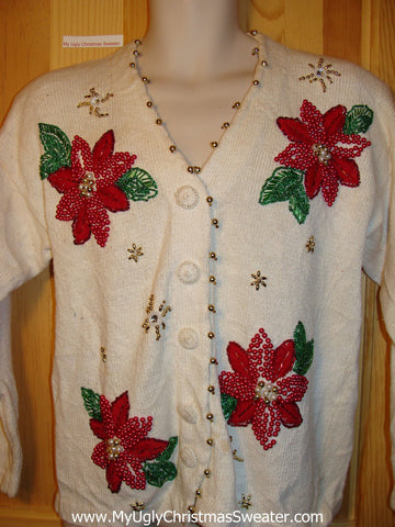 Tacky Ugly Christmas Sweater 80s Classic with Vibrant Bling Poinsettias (f309)