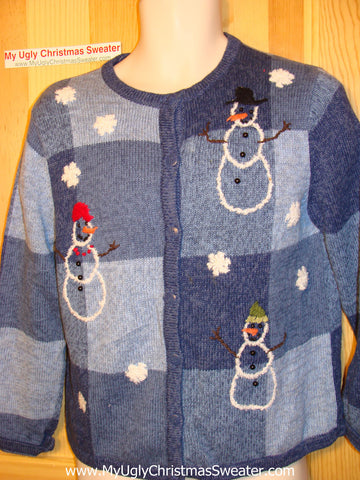 Tacky Ugly Christmas Sweater Blue Grid of Snowmen and Snowflakes (f30)