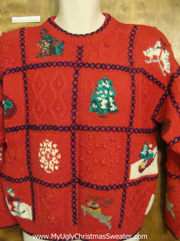 Corny Red Christmas Sweater 80s 2sided Classic