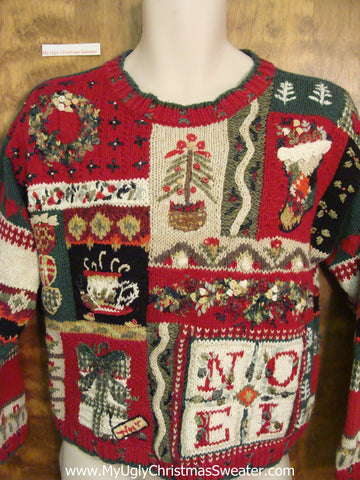 Busy NOEL Red Corny Christmas Sweater