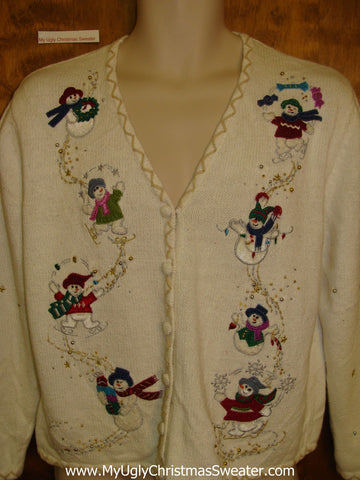 Corny Christmas Sweater Cardigan Flying Snowmen