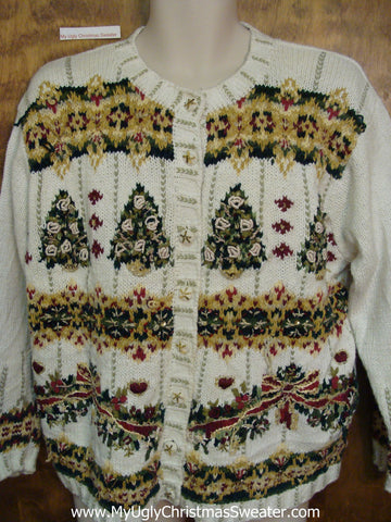 Green and Gold Trees Corny Christmas Sweater Cardigan