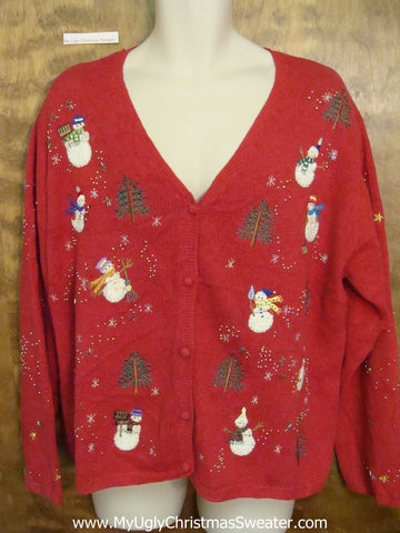 Windy Day Snowmen Corny Christmas Sweater Cardigan