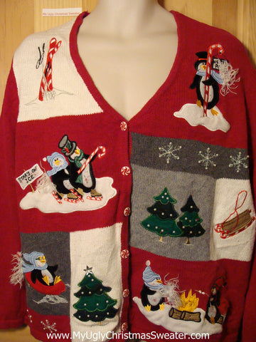 Tacky Ugly Christmas Sweater Cardigan with Skating Penguins (f310)