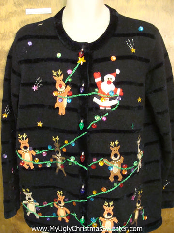 Santa and Reindeer Tightrope Corny Christmas Sweater Cardigan