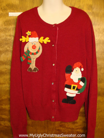 Corny Christmas Sweater Cardigan Child Size with Santa and Reindeer