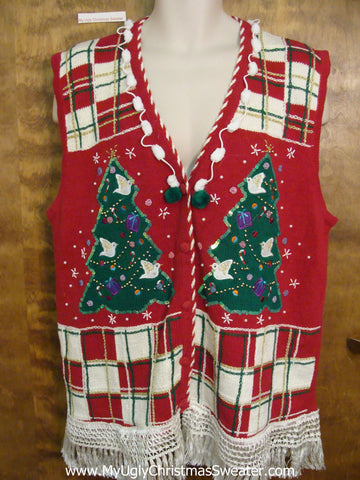Crafty 80s Checkerboard Corny Christmas Sweater Vest
