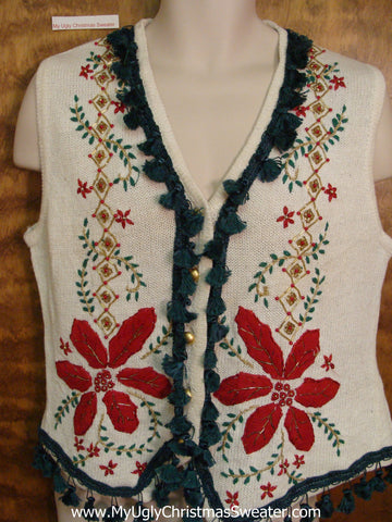 Corny Christmas Sweater Vest with Huge Poinsettias