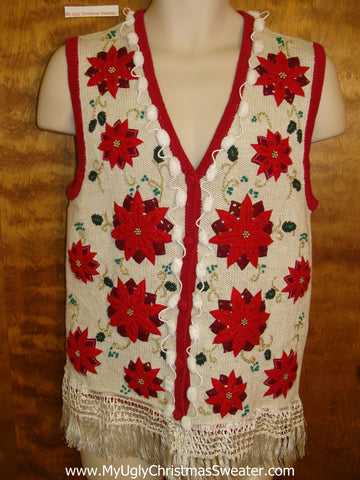 Red Poinsettia Themed Corny Christmas Sweater Vest