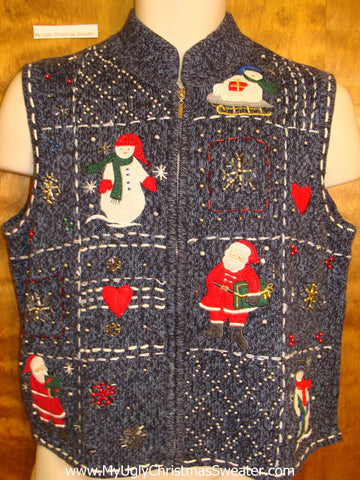 Corny Blue Christmas Sweater Vest