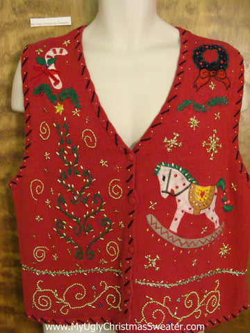 Rocking Horse Themed Corny Christmas Sweater Vest