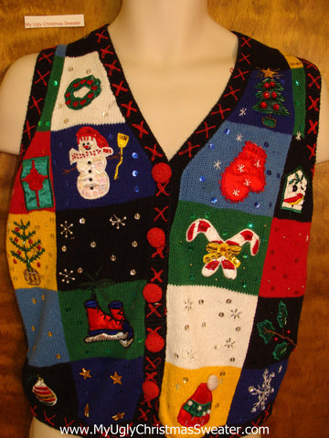 Colorful Tacky Corny Christmas Sweater Vest