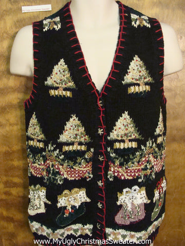 Corny Black Christmas Sweater Vest with Ornate Trees