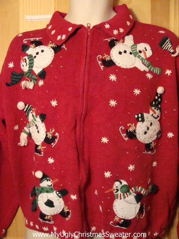Tacky Ugly Christmas Sweater with Toppling Ice Skating Carrot Nosed Snowmen (f313)