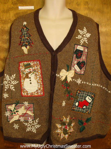 Horrible Brown Christmas Sweater Vest  4XL+