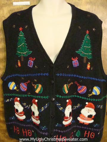Corny Black Christmas Sweater Vest Wms Mens XXXL