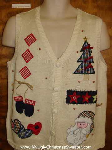 Crafty Plaid Themed Corny Christmas Sweater Vest
