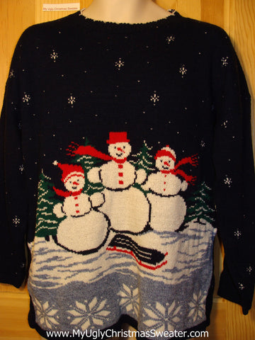 Tacky Ugly Christmas Sweater 2sided 80s Acrylic Gem with a Snowman Family  (f315)