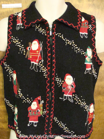 Corny Crafty Christmas Sweater Vest with Skiing Santa