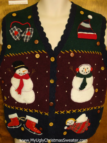 Corny Christmas Sweater Vest with an Angel