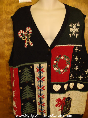 Corny Black Christmas Sweater Vest Wmn Mens XXXL