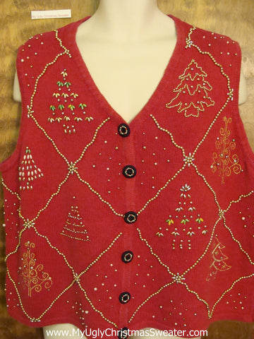 Corny Bead Bling Christmas Sweater Vest
