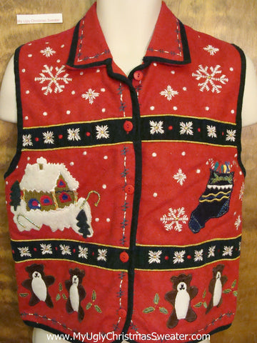 Bears in Winter Corny Christmas Sweater Vest