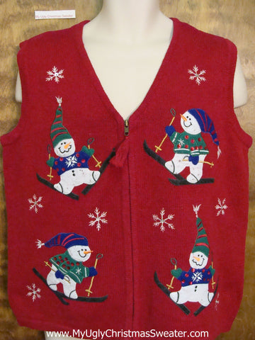 Happy Skiing Snowmen Corny Christmas Sweater Vest