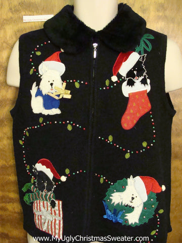 Puppy Dog Themed Christmas Sweater Vest