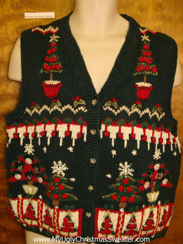 Corny Ornate Trees Christmas Sweater Vest