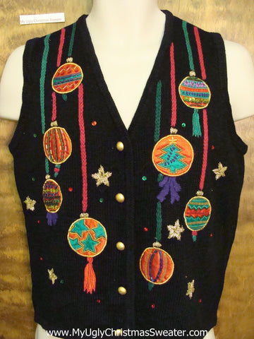 Corny Long Dangling Ornaments Christmas Sweater Vest
