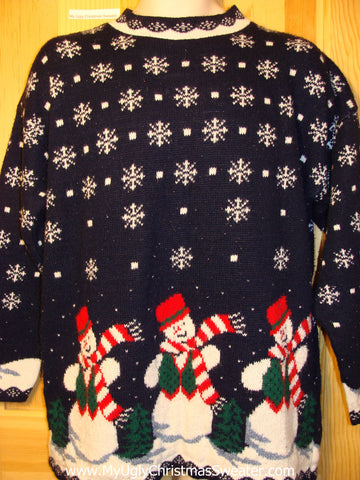 Tacky Ugly Christmas Sweater 80s Classic Acrylic 2sided Snowflakes with Snowman Family (f317)