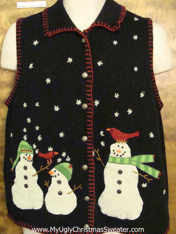 Corny Black Christmas Sweater Vest with Snowmen