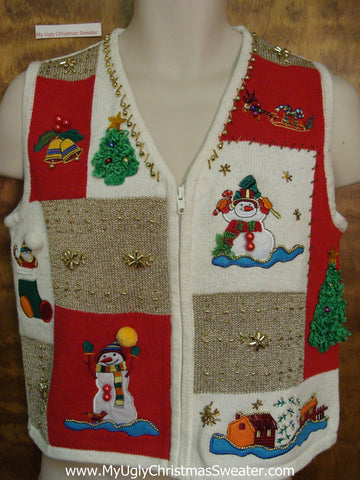 Bling Filled Corny Christmas Sweater Vest