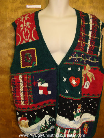 Colorful and Busy Corny Christmas Sweater Vest