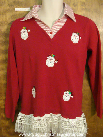 Super Funny Red Corny Christmas Sweater Pullover