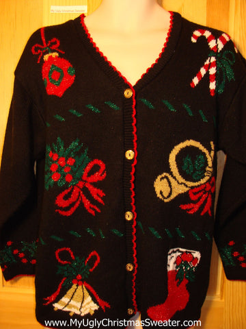 Tacky Ugly Christmas Sweater 80s Classic Cardigan with Trumpet, Candy Canes, Ornament, Bells, and Stocking (f318)
