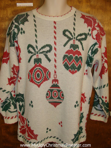 Retro 80s 2sided Corny Christmas Sweater Pullover