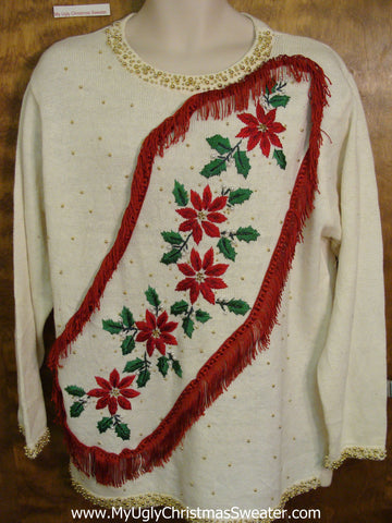 Poinsettias and Fringe Themed Corny Christmas Sweater Pullover